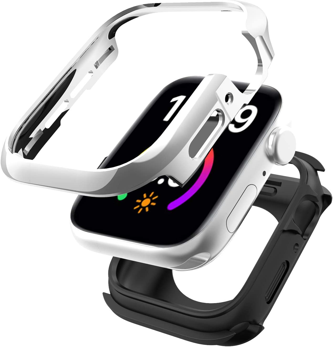 SwitchEasy Odyssey Case Compatible with Apple Watch Series 6/SE/5/4 44mm, Metal + TPU 2-in-1 Bumper case, Anti-Scratch, Shockproof Protection - Flash Silver