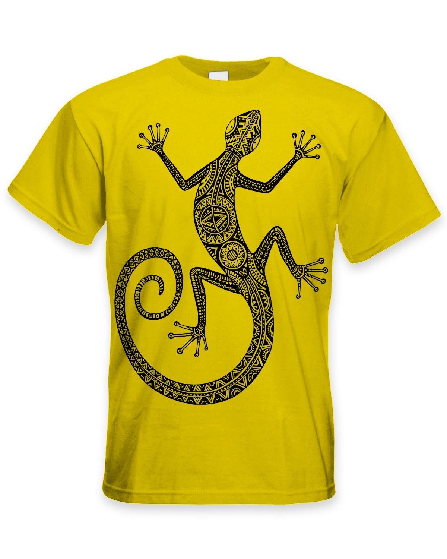 Tribal Camisetas Tribal Lagarto Tatuaje Grande Estampado Camiseta Hombre - Amarillo - Small: Amazon.es: Ropa y accesorios