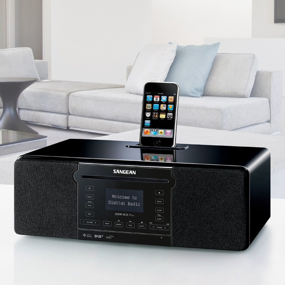 Sangean DDR-63 All-in-One Table Top with WiFi Internet FM-RDS//Aux In// CD//USB//iPod Cradle in Acoustically Designed Wooden Cabinet
