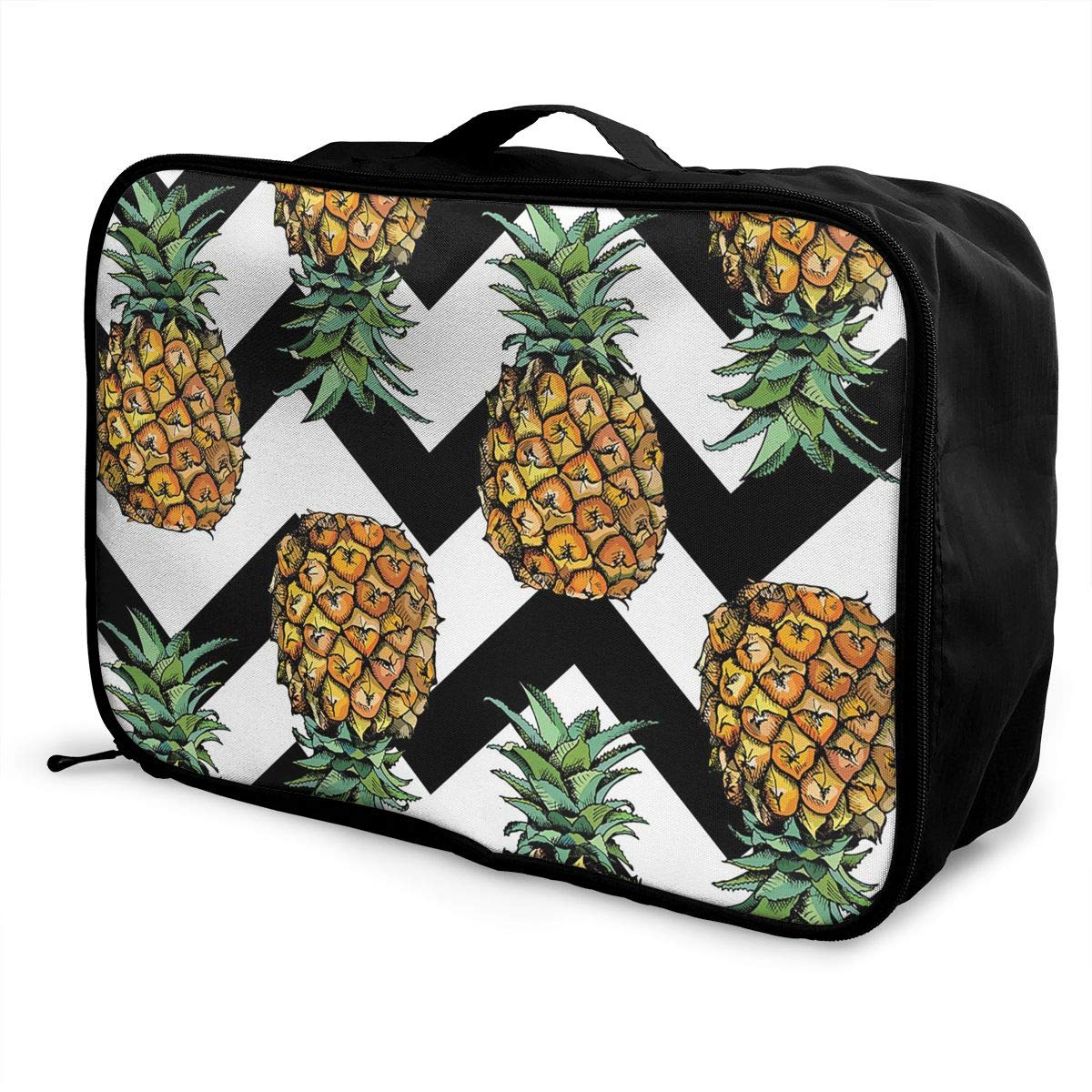 Waves Pineapple Travel Fashion Lightweight Large Capacity Duffel Portable Waterproof Foldable Storage Carry Luggage Tote Bag