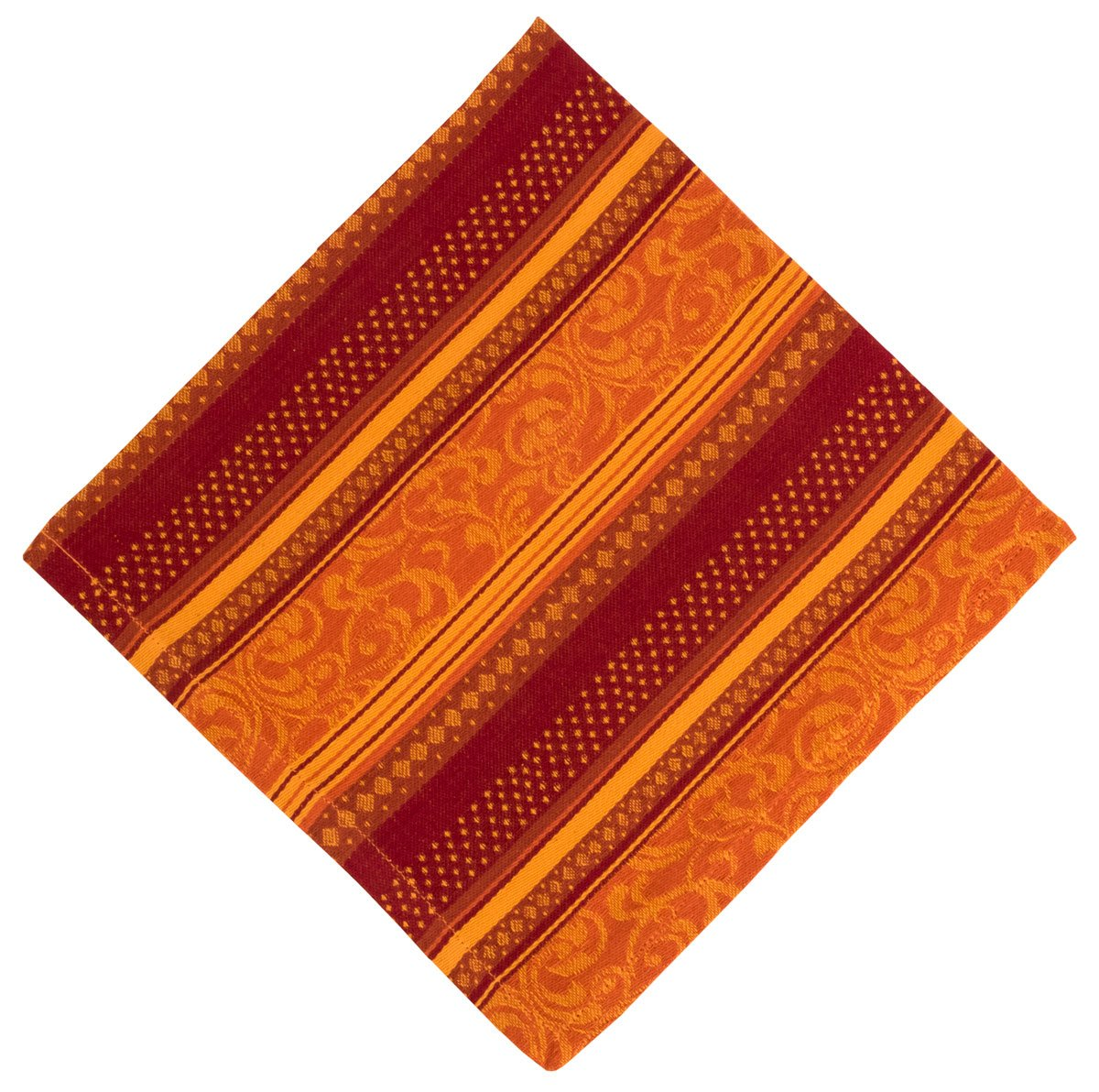 100% Cotton Orange & Rust Jacquard 22''x22'' Napkins, Set of 12 - Somerset by Traders and Company