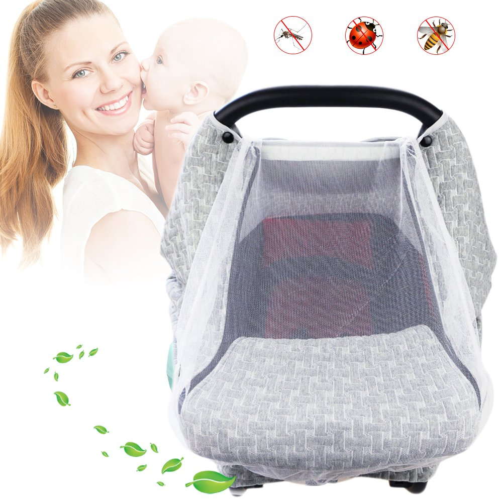 Baby Stroller Gray Air Layer Mosquito Net Sun Protection Sunshade Heat Insulation Cooling Polyester Cotton Cover Towel Sunshield by Fovolat (Image #2)