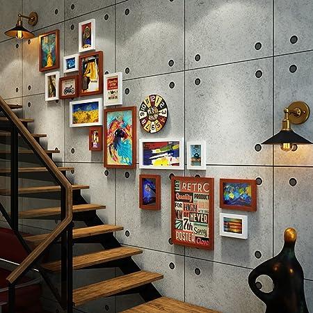 Ali@ 16 Multi Photo Frames Set Industrial Style Living Room Foto Cuadro Pared Cuadro Combinación Escalera Pintura (Color : #A): Amazon.es: Hogar