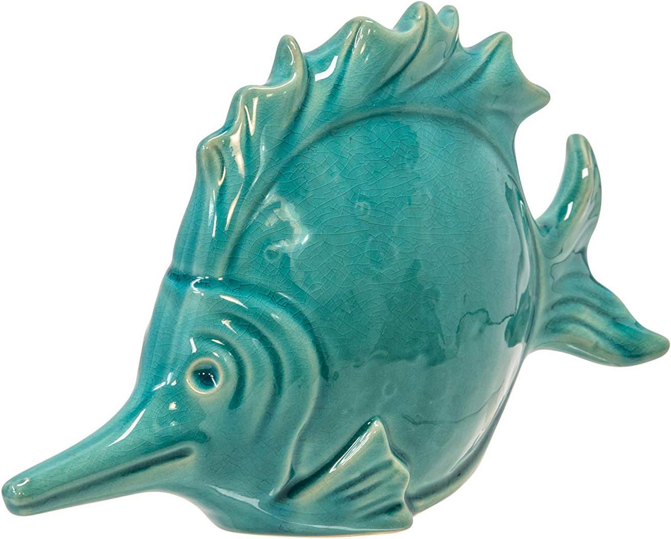 """Sagebrook Home 14035-03 Ceramic Fish Decor,10.75"""",Gray, L x 3''W x 6.75''H"""
