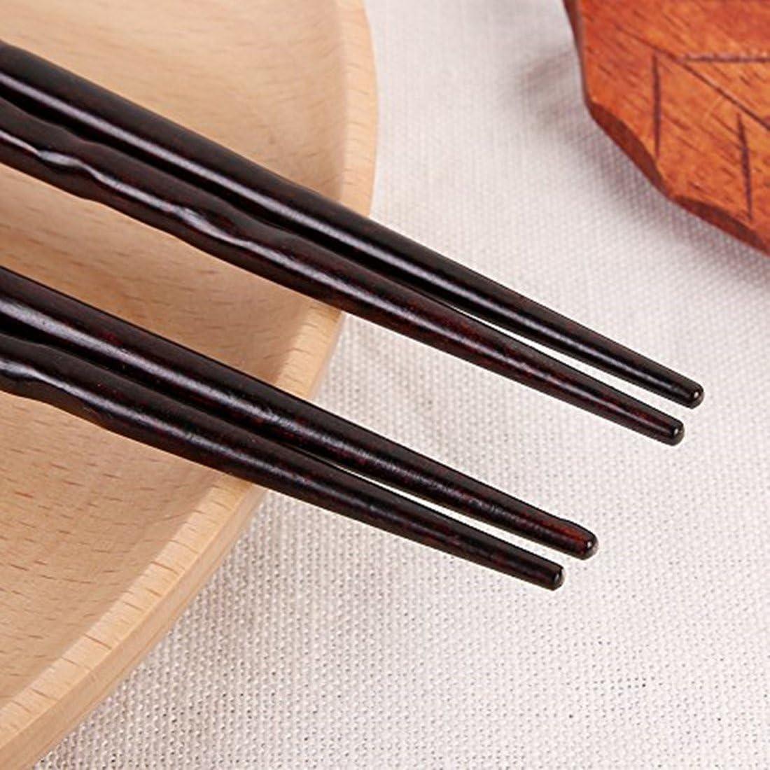 Fecihor 5 par Palillos de Madera Natural Restaurante Chino Japon/és Palillos Set Antideslizante Palillos Regalo