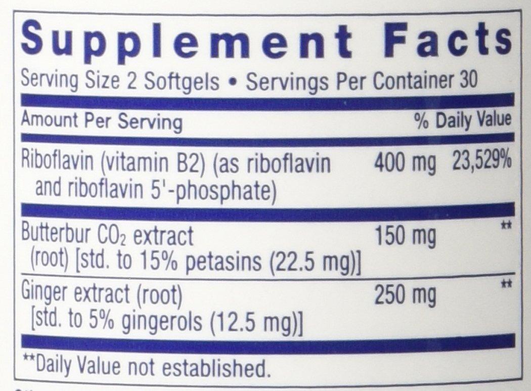 Life Extension Migra-EezeTM Standardized Butterbur-Ginger-Riboflavin Formula 60 Softgels Pack of 2