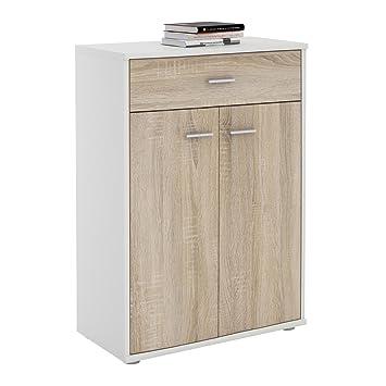 CARO-Möbel Kommode Sideboard Schrank Tommy in weiß/Sonoma Eiche, Anrichte  Highboard mit Schublade und 2 Türen