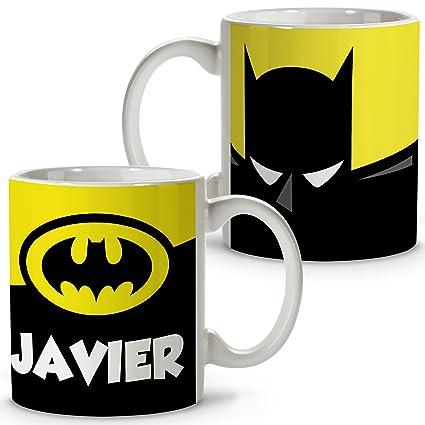 Lolapix Taza Personalizada Batman con Nombre. Superheroes. Friki. Varios diseños.