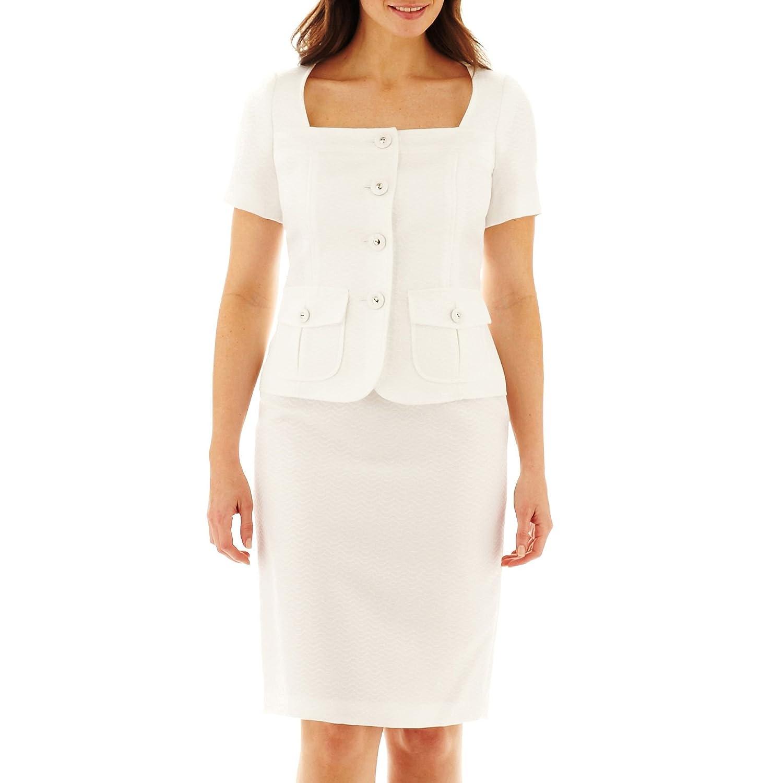 Amazon.com: Le Suit 2pc chamarra y falda blanca natural de ...