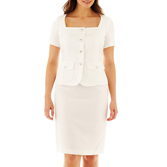 Amazon.com: Le Suit 2pc chamarra y falda blanca natural de ...