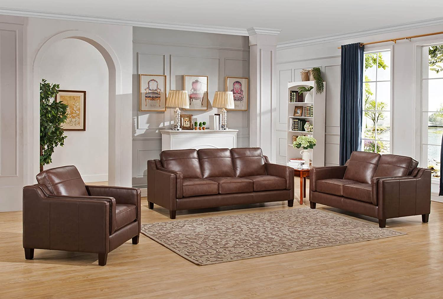Amax Leather Acorn 3 Piece Sofa Set - Brown