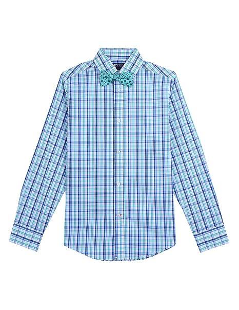 22035fde2 Tommy Hilfiger Boys' Big Long Sleeve Stretch Dress Shirt with Bow Tie,  Resort Aqua