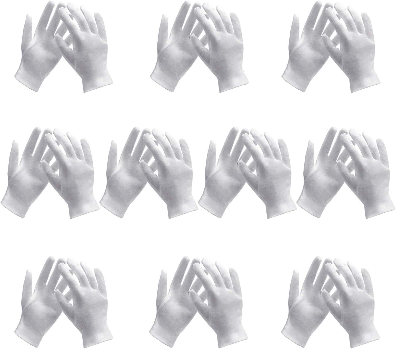10 Pairs White Cotton Gloves, Enpoint White Cotton Gloves for Handling Art Working Glove Art Glove Liners Bulk for Handling Jewelry, Film, Photo, Coin Metal Inspection Men & Women