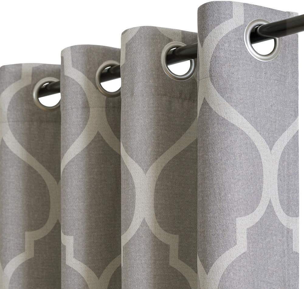 """jinchan Linen Textured Curtains Moroccan Tile Pattern Blackout Curtains for Bedroom Living Room Thermal Insulated Window Treatment 2 Panels 84"""" L Grey"""