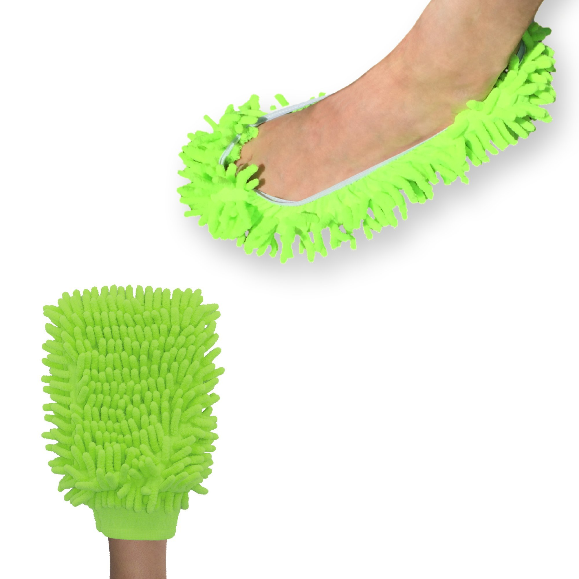 Chenille Wash & Dust Microfiber Mitt - Premium Scratch-free Used for Car, Home, Electronics, Windows (Lime - Foot & Mitt)
