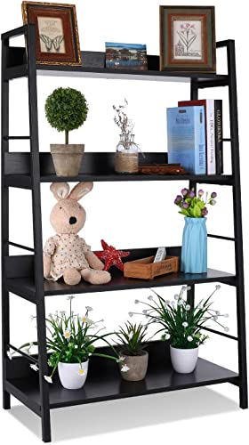 4 Shelf Ladder Bookcase, Industrial Bookshelf Wood and Metal Bookshelves, Plant Flower Stand Rack Book Rack Storage Shelves for Home Decor