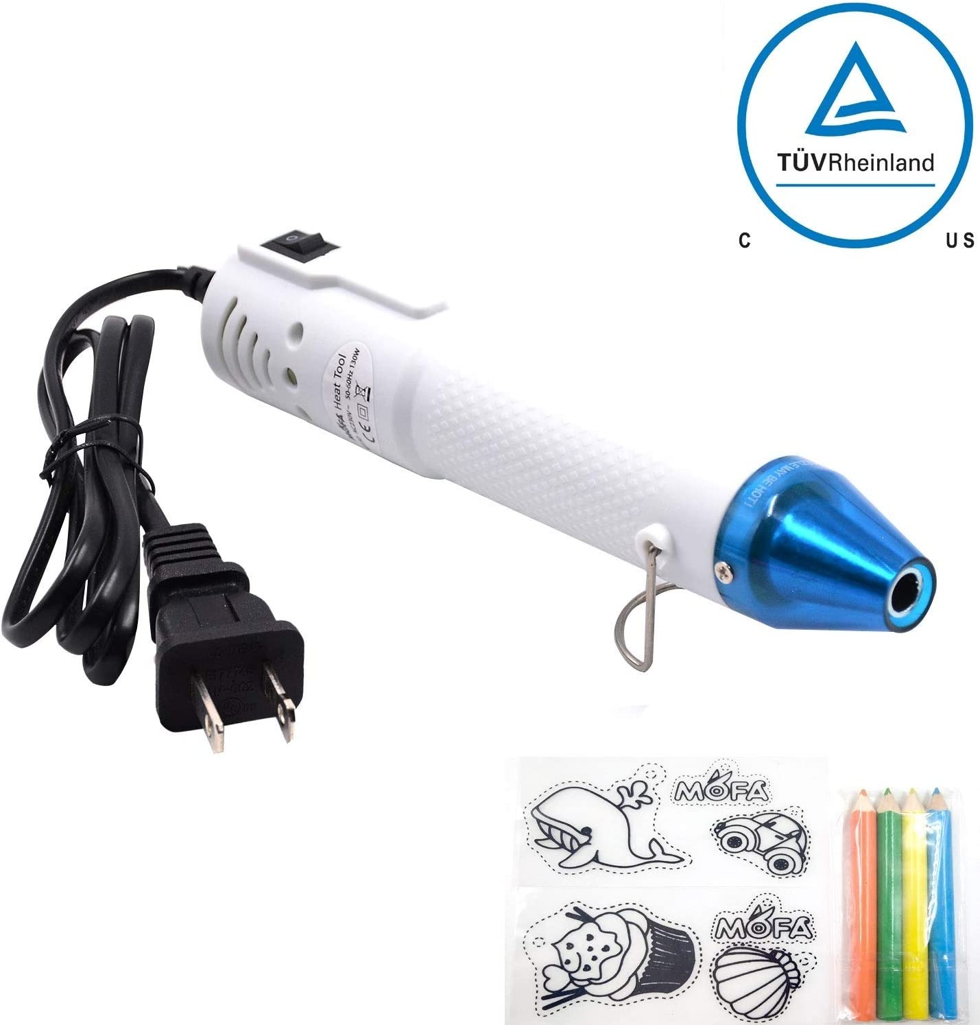 mofa Embossing Heat Gun,Hot Air Gun Tools Shrink Gun with Stand For DIY Embossing And Drying Paint Multi-Purpose Electric Heating Nozzle 130W With Heat Shrink Film,Colorful Pencil For Free(White,Blue)