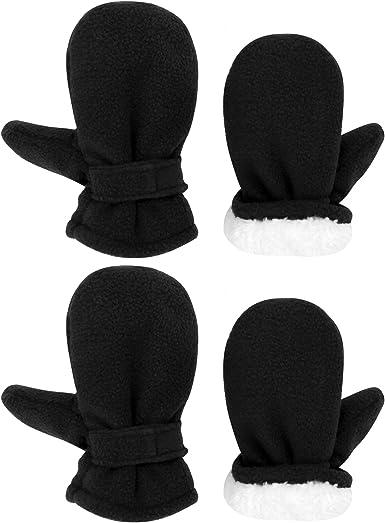 2 Pairs Toddler Child Winter Sherpa Lined Fleece Gloves Kids Warm Mittens