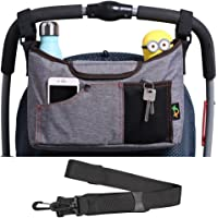 AMZNEVO Baby Stroller Organizer Bag with Cup Holders and Shoulder Strap (Grey)
