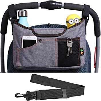 Universal Baby Stroller Organizer Bag Diaper Storage Lightweight Travel Bag with Cup Holders and Storage Pockets Blue