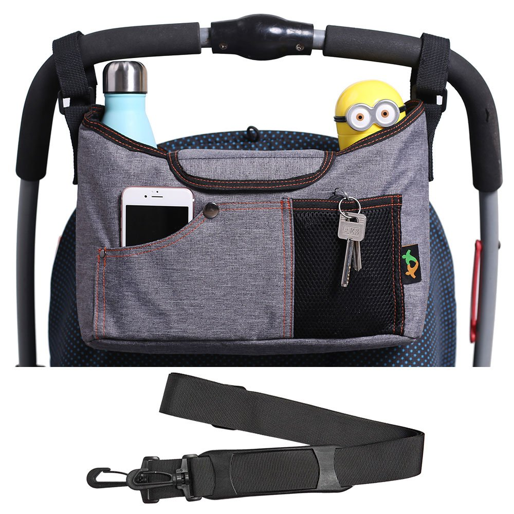 Universal Baby Stroller Pram Organizer Bag Hanging Bag with Cup Holders and Shoulder Strap Extra Storage Space for Organize Baby Accessories and Phones Brown