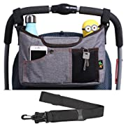 AMZNEVO Best Universal Baby Jogger Stroller Organizer Bag/Diaper Bag with Cup Holders and Shoulder Strap. Extra Storage Space for Organize The Baby Accessories and Your Phones. (Grey)