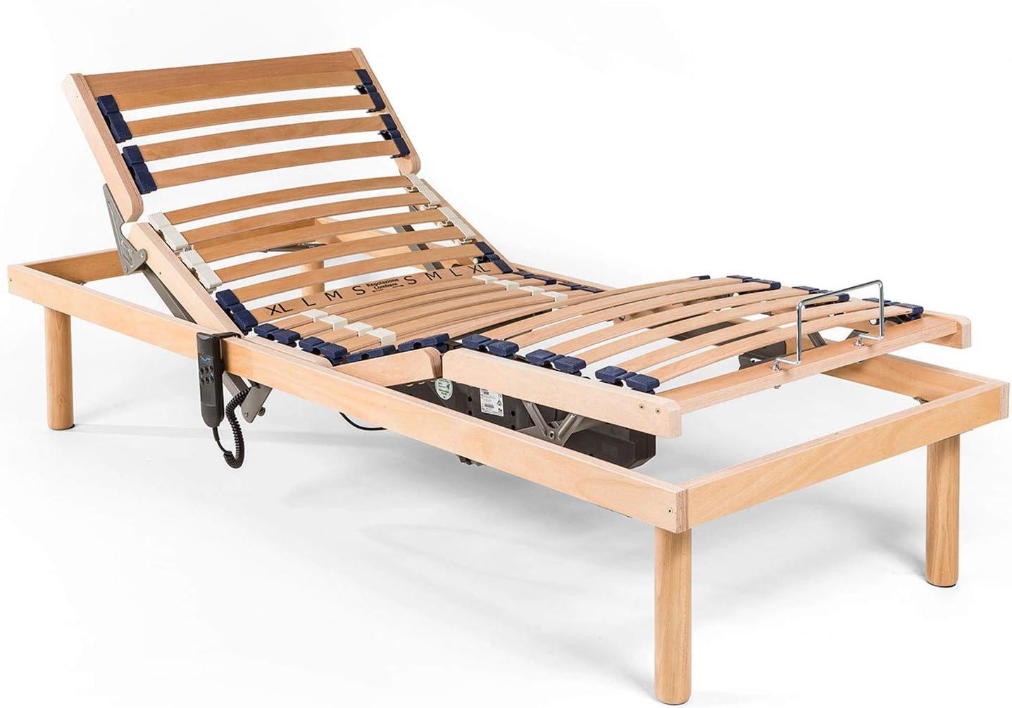 Goldflex – Somier motorizado eléctrico a láminas con marco de madera de haya + Mando a distancia, movimiento de 4 áreas independientes // exclusivo ...