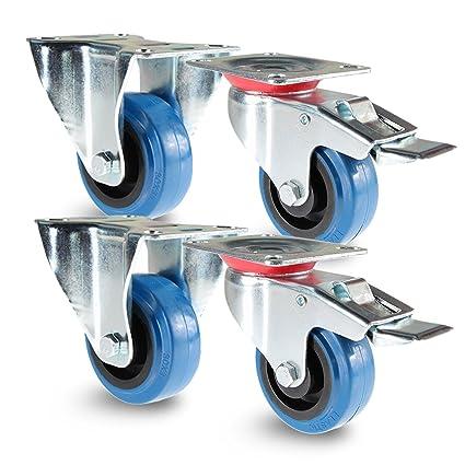 priostahl tr de Juego de 18 Blue Wheels, 4 unidades, ruedas de transporte 100