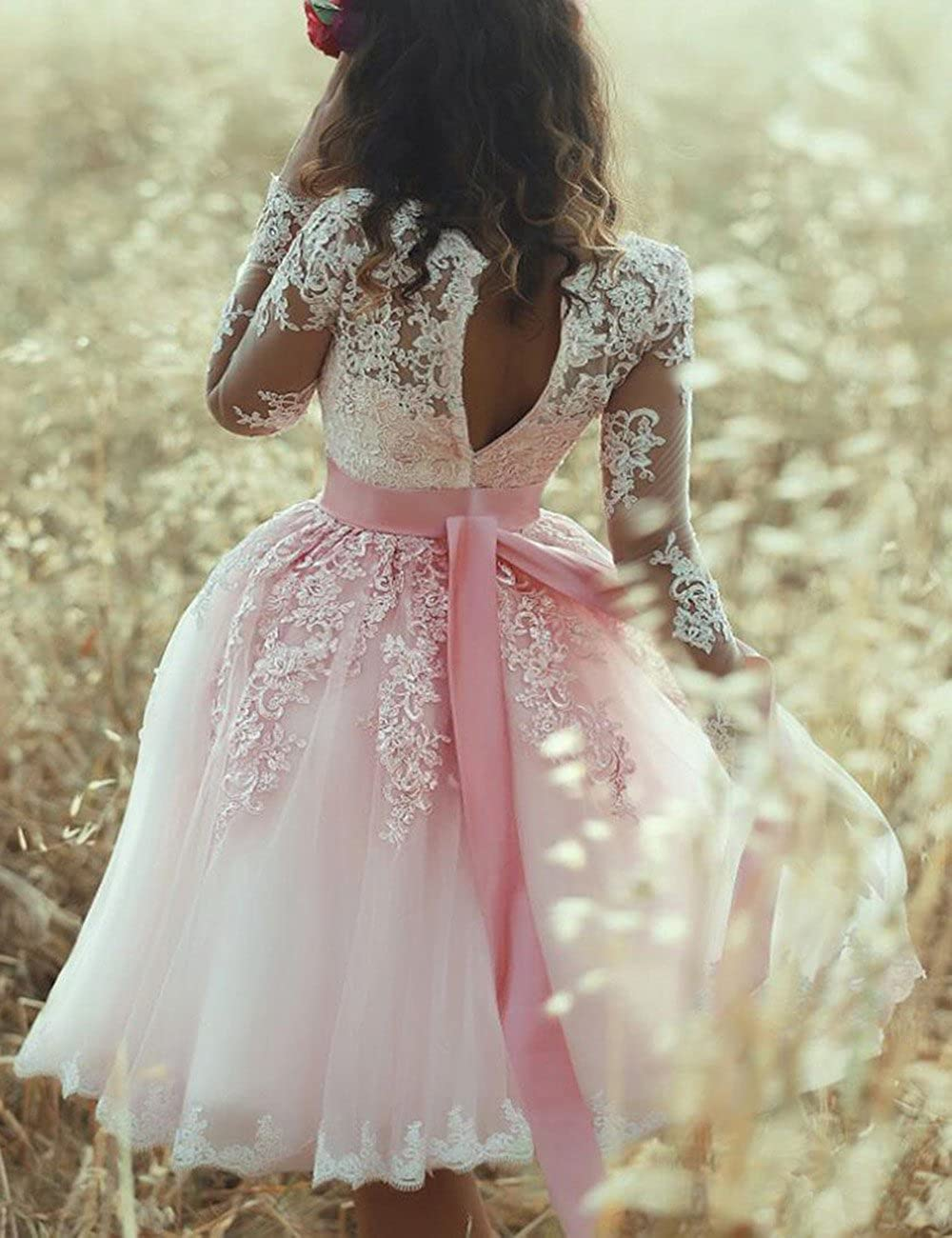 Amazon.com: Beautydress Blush Lace Short Prom Gown Sheer Long Sleeve Cocktail Homecoming Dress BP111: Clothing