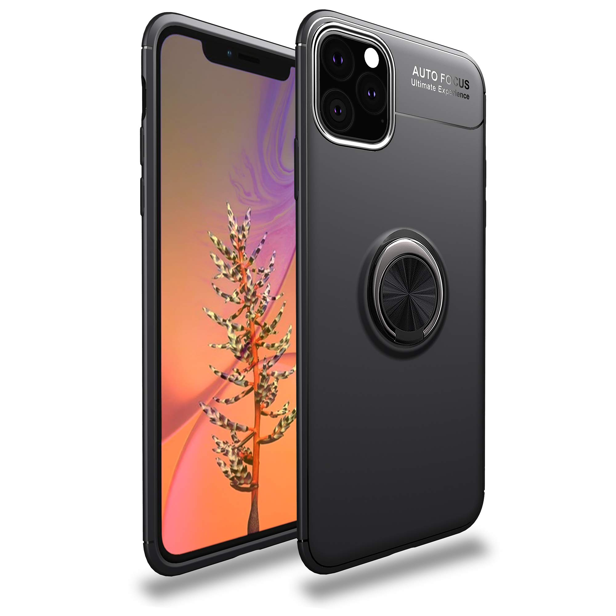 iPhone XIR 5G Magnetic Case Ring Holder Kickstand Magnetic Base Car Mount Rotable Protective Silicone TPU Shell Back iPhone XIR (6.1 inch) (1) by 54lany