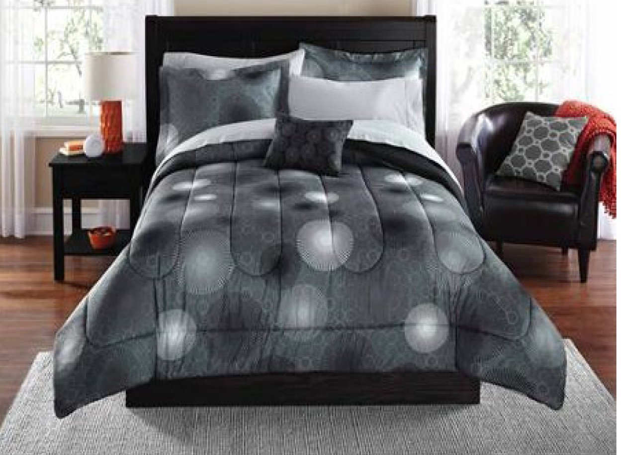 Mainstays 8PC Starburst Coordinated Bed In A Bag Bedding Set Queen