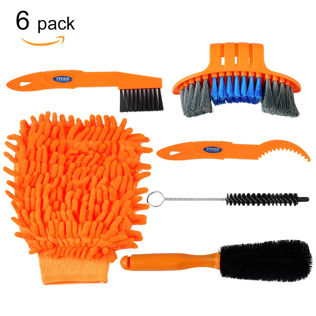 Acacia 6pcs Bike Bicycle Cleaning Tools Kit,Bicycle Clean Brush Set for Bike Chain/Crank/Tire/Sprocket Bike Corner Stain Dirt Clean, Fit Mountain,Road,City,Hybrid,BMX Bike and Folding Bike