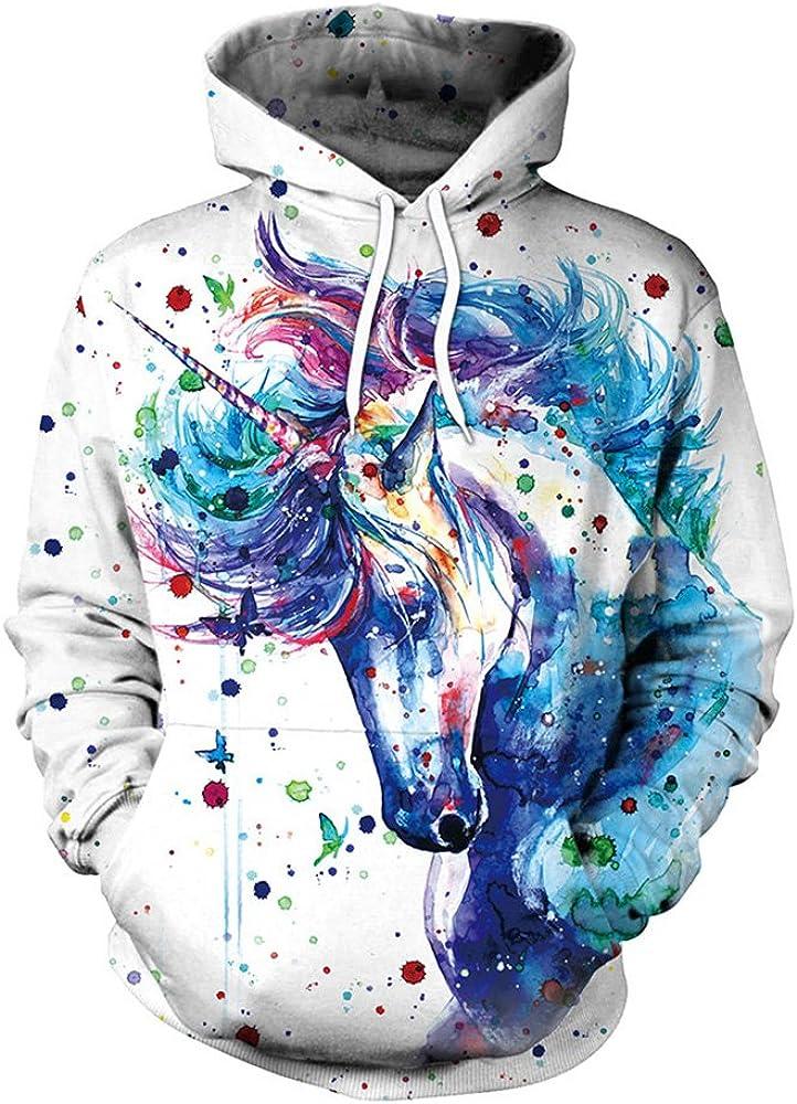 Bonamana niedlichen Cartoon Einhorn Hoodie Pullover mit Taschen Langarm Oberbekleidung Jacke Sweatshirt f/ür M/ädchen Frauen