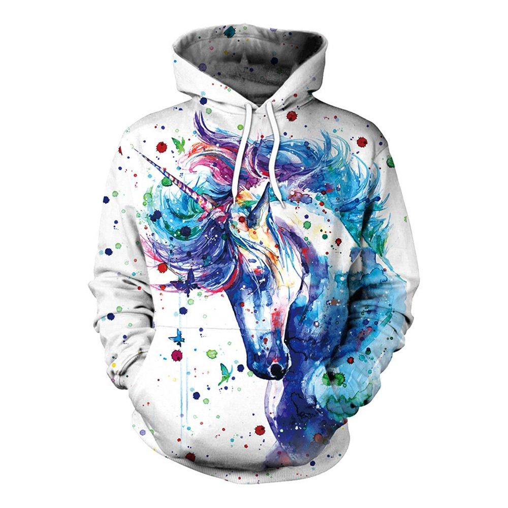 Einhorn Hoodie Pullover mit Taschen