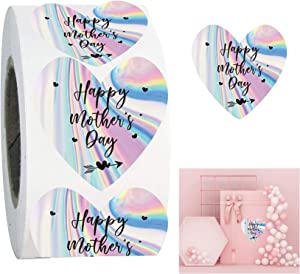 Holographic Happy Mother's Day Gift Stickers 1.5 inch Heart Mother's Day Labels for Home Business,Boxes,Card,Envelopes 500 pcs