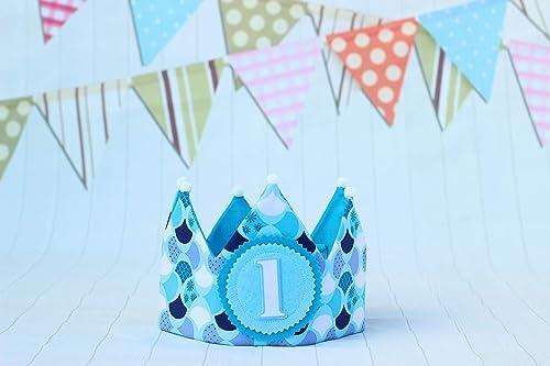 Decoración de cumpleaños bebé niño corona de cumpleaños azul ...