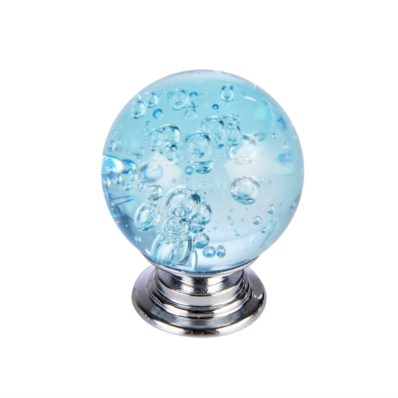 Set of 10 Aqua Blue Bubbles Glass Crystal Knobs and Pulls Knobs Handles for  Kitchen Furniture Door Drawer Cabinet Dresser Closet Wardrobe Cupboard ...