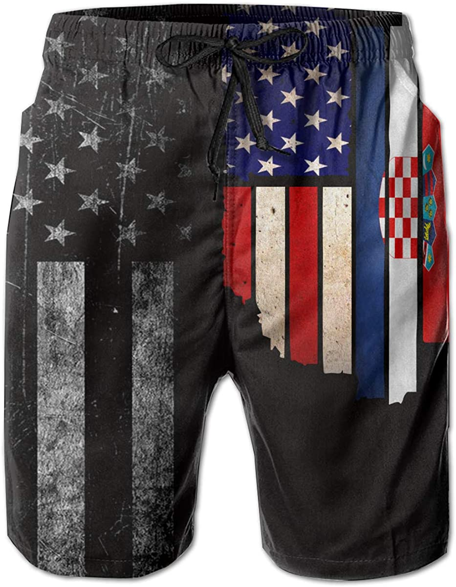 Mens Vintage USA Croatia Flag Board Shorts Swimming Shorts