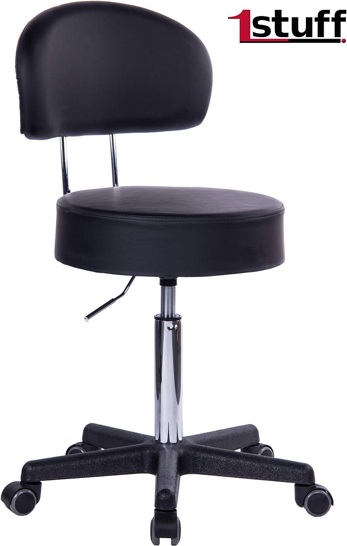 1stuff/® Profi Rollhocker Rollstuhl Squash 70cm Sitzh/öhe bis ca Lederimitat dunkelgrau - Lehne Bigback 1 Arzthocker Arbeitshocker B/ürohocker Drehhocker bis 180kg 35cm Sitzbreite
