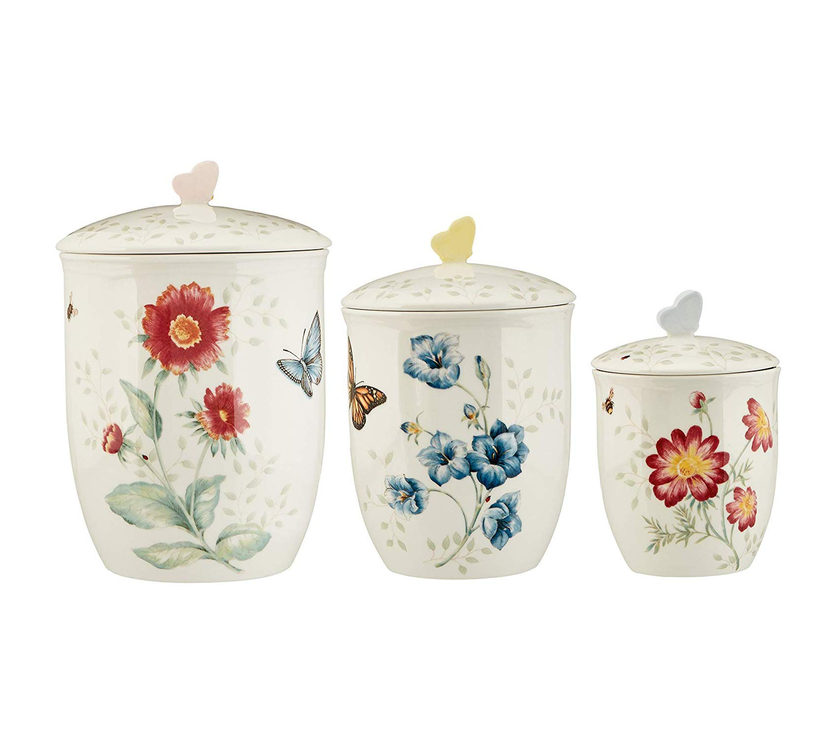 Lеnоx Premium 3 Piece Butterfly Meadow Canister Set White Storage
