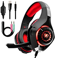 Gaming Headset for PS4 Xbox One PC, Beexcellent New Stereo Bass Surround Sound Gaming Headphones with Noise Reduction Microphone for Laptop Mac Smartphones Nintendo Switch Games (RED)