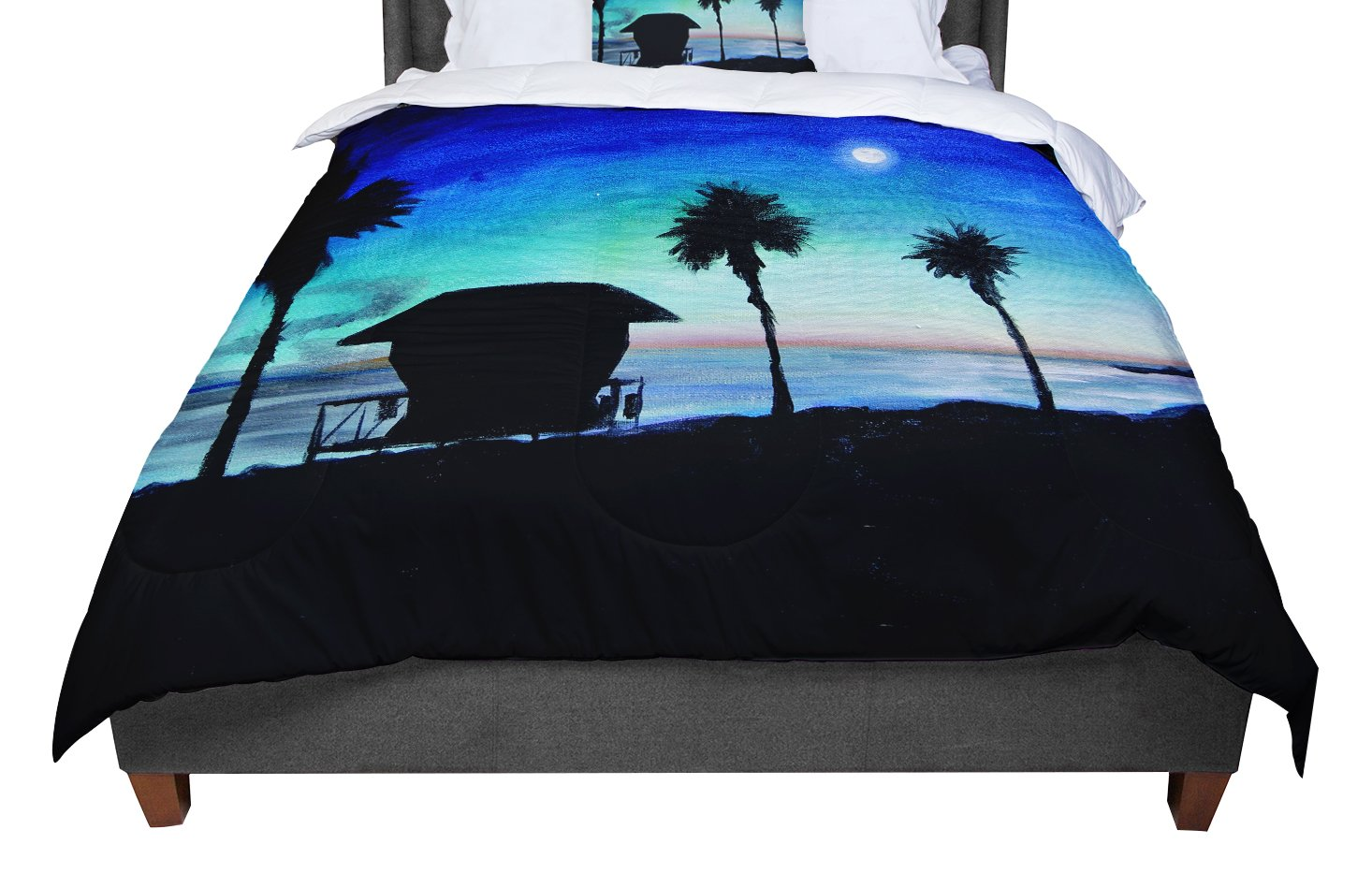 68 X 88 KESS InHouse Strawberringo Three Feathers  Blue Gray Twin Comforter