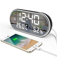 """TFHEEY 6.5"""" grande espejo de LED reloj despertador digital con 3 alarmas, brillo ajustable, puerto de carga USB dual, muestra la hora Temperatura y Humedad para dormitorios"""
