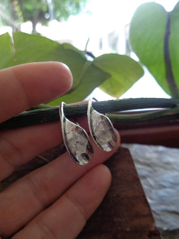 ✿ CERCHI UNICI MERAVIGLIOSI SHRINKLED BOHO ETHNO CRYSTAL ✿ orecchini lunghi con gancio in metallo