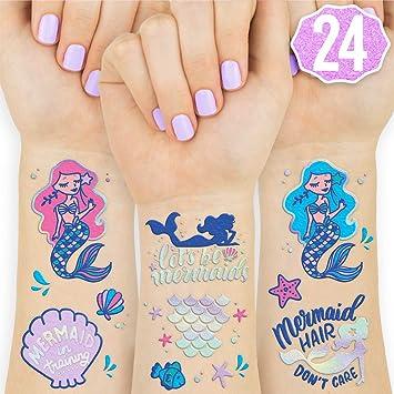 Amazon Com Xo Fetti Mermaid Tattoos For Kids 24 Glitter Styles