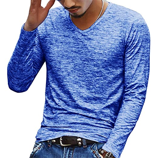 9909ac0dd7373 Image Unavailable. Image not available for. Color  Taoliyuan Men Long  Sleeve T Shirt Slim Fit V Neck Casual Heathered ...