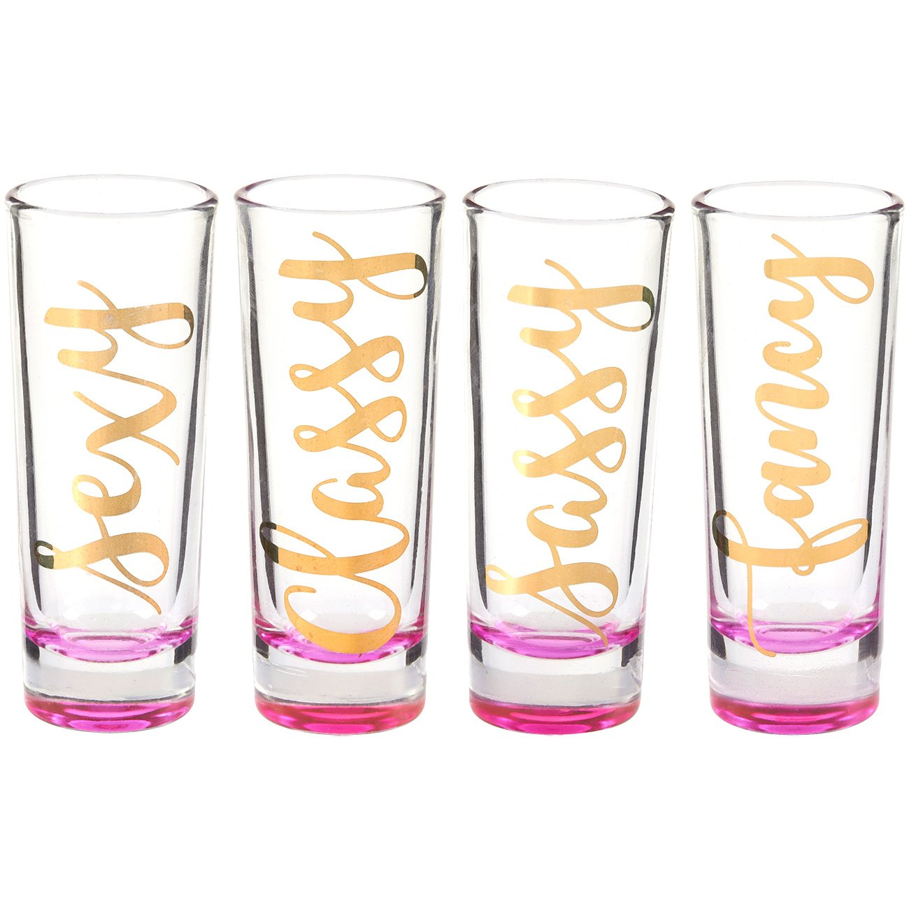 Party Favors Shot Glassess - Shot Glasses Gift Set, Fancy, Sexy, Sassy, Classy Gold Foil Prints and Pink Bottom for Bachelorette, Bridal Showers, Girls Night Out- Set of 4, 2 oz Each
