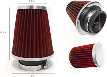 "RED 1998 UNIVERSAL 70mm 2.75/"" INCHES SHORT RAM//COLD AIR INTAKE FILTER"