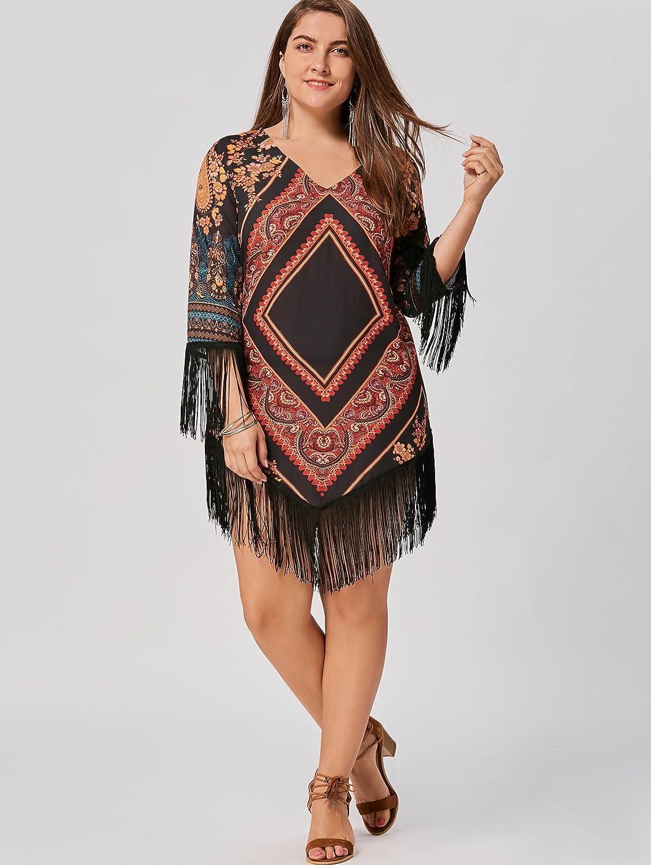 1dd4d9eed7f Hannea Plus Size Tribal Printed Chiffon Tassel Dress  Amazon.in  Clothing    Accessories