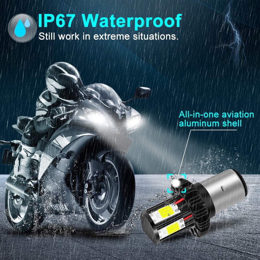 Super Bright White H6 High Low Beam Light Motorbike Headlamp 1200LM COB Chips 6000K BA20D LED Motorcycle Headlight Bulb 4 Sides